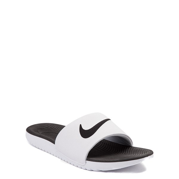 alternate view Nike Kawa Slide Sandal - Little Kid / Big Kid - White / BlackALT1