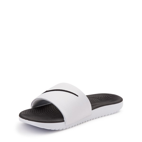 alternate view Nike Kawa Slide Sandal - Little Kid / Big Kid - White / BlackALT3