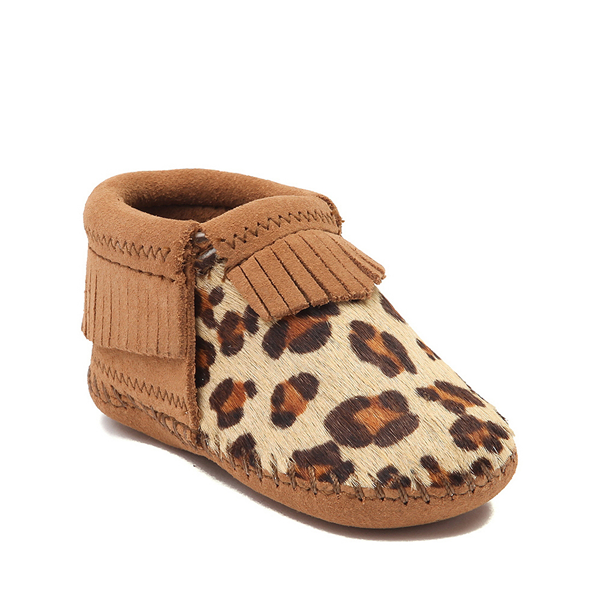 alternate view Minnetonka Riley Leopard Bootie - Baby / Toddler - Tan / LeopardALT5
