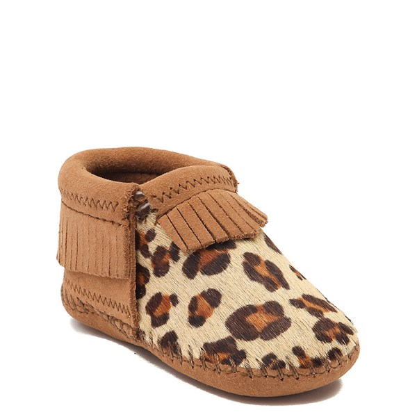 alternate view Minnetonka Riley Leopard Bootie - Baby / Toddler - Tan / LeopardALT1
