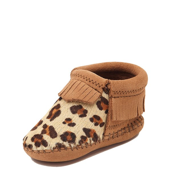 alternate view Minnetonka Riley Leopard Bootie - Baby / Toddler - Tan / LeopardALT3