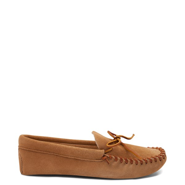 Mens Minnetonka Leather Laced Softsole Slipper - Tan