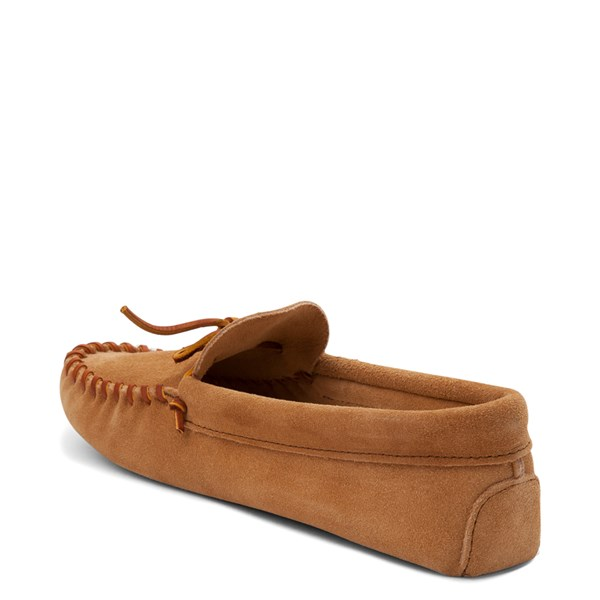 alternate view Mens Minnetonka Leather Laced Softsole Slipper - TanALT2