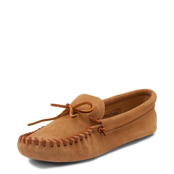 alternate view Mens Minnetonka Leather Laced Softsole Slipper - TanALT3