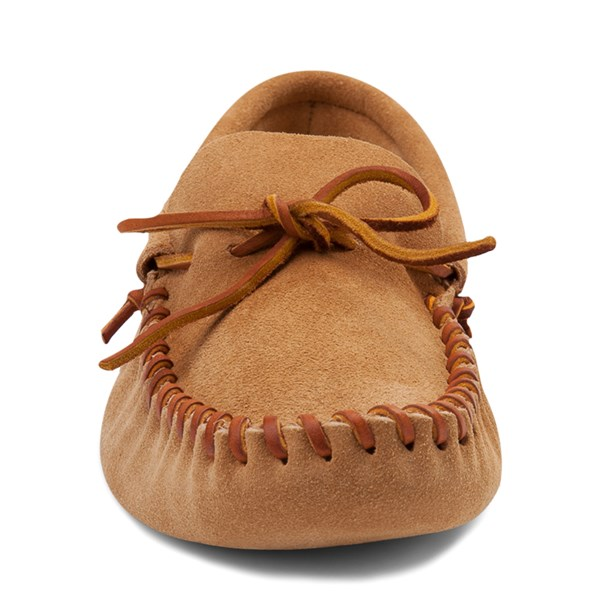 alternate view Mens Minnetonka Leather Laced Softsole Slipper - TanALT4