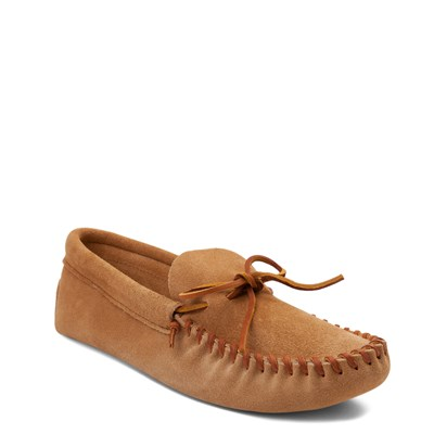 Alternate view of Mens Minnetonka Leather Laced Softsole Slipper - Tan