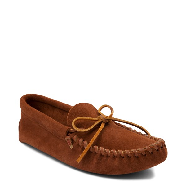 alternate view Mens Minnetonka Leather Laced Softsole Slipper - BrownALT1
