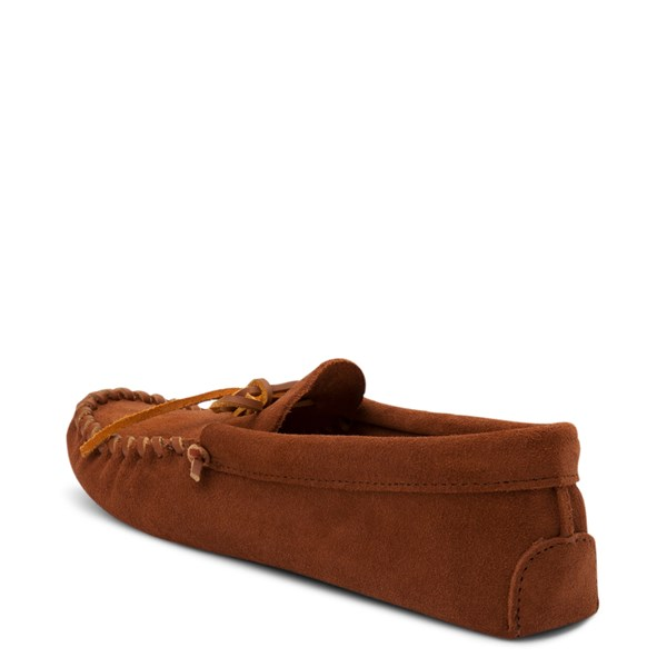 alternate view Mens Minnetonka Leather Laced Softsole Slipper - BrownALT2