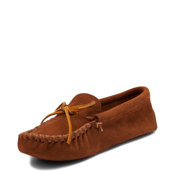 alternate view Mens Minnetonka Leather Laced Softsole Slipper - BrownALT3