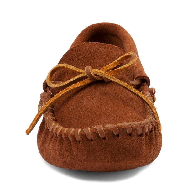 alternate view Mens Minnetonka Leather Laced Softsole Slipper - BrownALT4