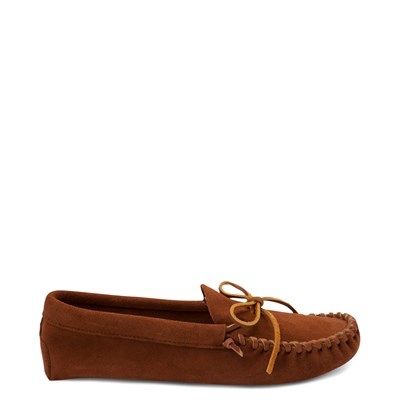 Main view of Mens Minnetonka Leather Laced Softsole Slipper - Brown