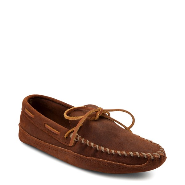 alternate view Mens Minnetonka Double Bottom Softsole Slipper - BrownALT1