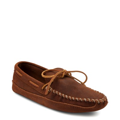 Alternate view of Mens Minnetonka Double Bottom Softsole Slipper - Brown