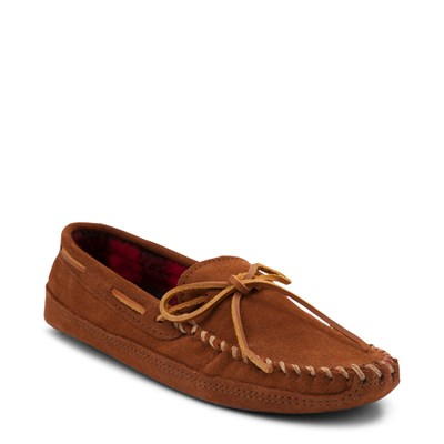 Alternate view of Mens Minnetonka Double Bottom Fleece Slipper - Brown