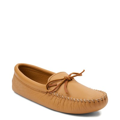 Alternate view of Mens Minnetonka Double Deerskin Softsole Slipper - Natural