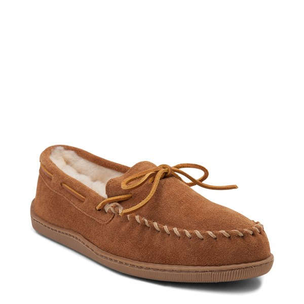 alternate view Mens Minnetonka Sheepskin Hardsole Moc Slipper - TanALT1