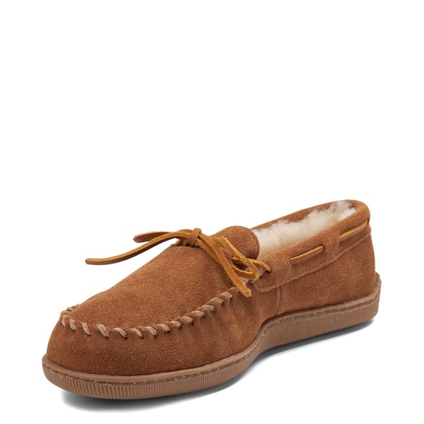 alternate view Mens Minnetonka Sheepskin Hardsole Moc Slipper - TanALT3