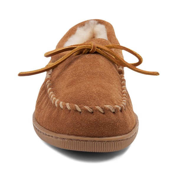 alternate view Mens Minnetonka Sheepskin Hardsole Moc Slipper - TanALT4