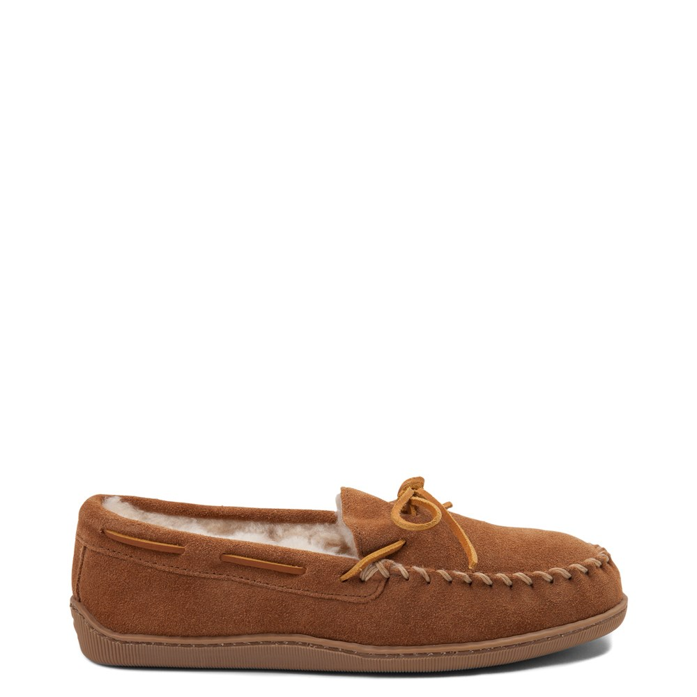 Mens Minnetonka Sheepskin Hardsole Moc Slipper - Tan