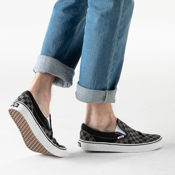 alternate view Vans Slip On Checkerboard Skate Shoe - Gray / BlackB-LIFESTYLE1