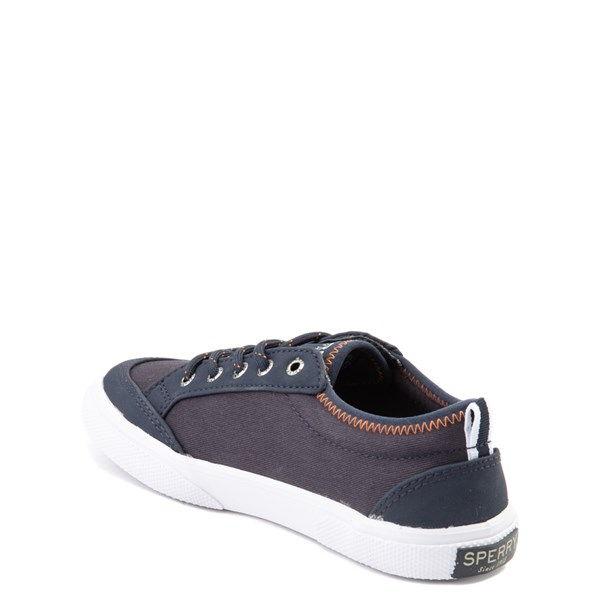 alternate view Sperry Top-Sider Deckfin Boat Shoe - Little Kid / Big Kid - Navy / OrangeALT2