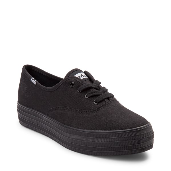 alternate view Womens Keds Triple Platform Casual Shoe - Black MonochromeALT1