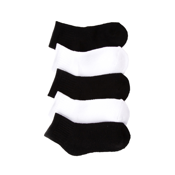 Main view of Quarter Top Crew Socks 5 Pack - Toddler - Black / White