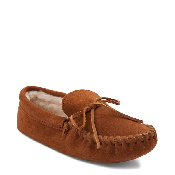 alternate view Mens Minnetonka Pile Lined Softsole Slipper - BrownALT1