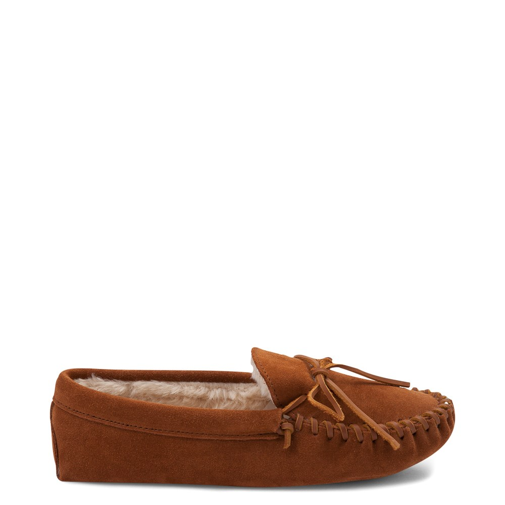 Mens Minnetonka Pile Lined Softsole Slipper - Brown