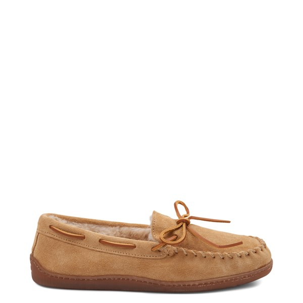 Main view of Mens Minnetonka Pile Lined Hardsole Slipper - Tan