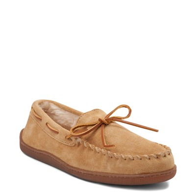 Alternate view of Mens Minnetonka Pile Lined Hardsole Slipper - Tan