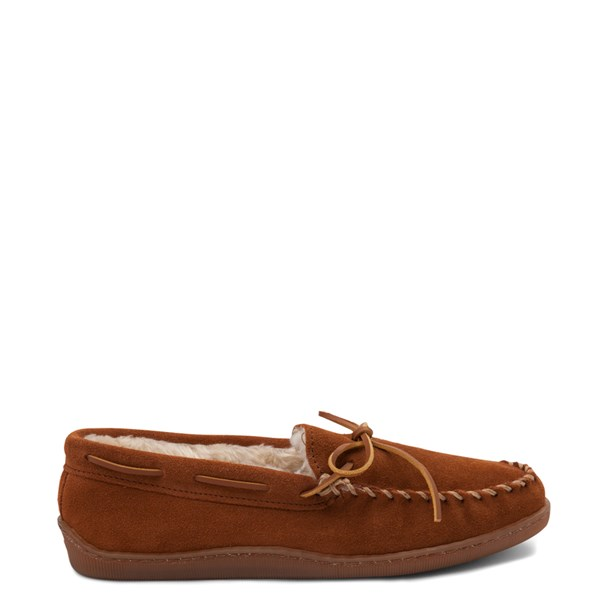 Main view of Mens Minnetonka Pile Lined Hardsole Slipper - Brown