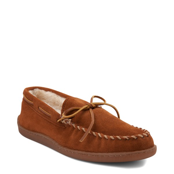 alternate view Mens Minnetonka Pile Lined Hardsole Slipper - BrownALT1