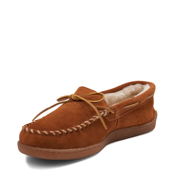 alternate view Mens Minnetonka Pile Lined Hardsole Slipper - BrownALT3