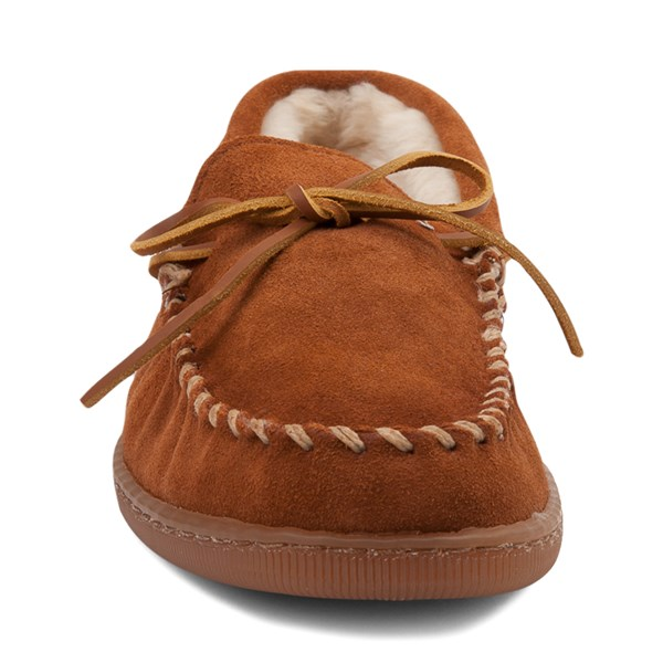 alternate view Mens Minnetonka Pile Lined Hardsole Slipper - BrownALT4