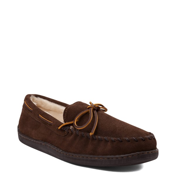alternate view Mens Minnetonka Pile Lined Hardsole Slipper - ChocolateALT1
