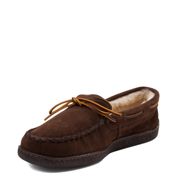 alternate view Mens Minnetonka Pile Lined Hardsole Slipper - ChocolateALT3