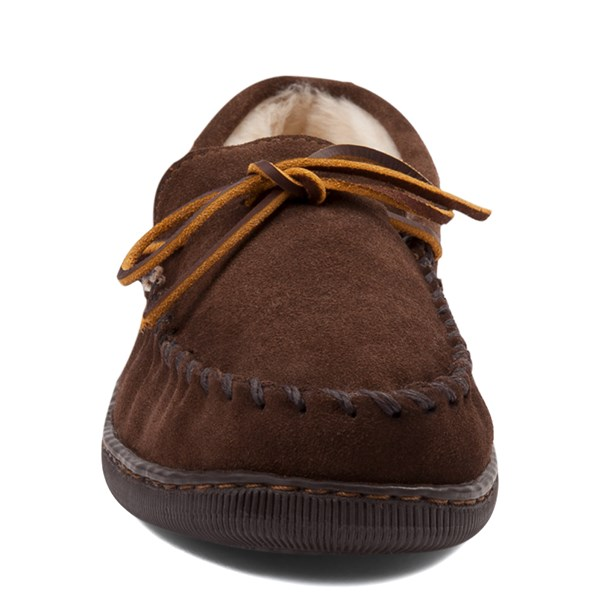 alternate view Mens Minnetonka Pile Lined Hardsole Slipper - ChocolateALT4
