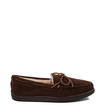 Main view of Mens Minnetonka Pile Lined Hardsole Slipper - Chocolate
