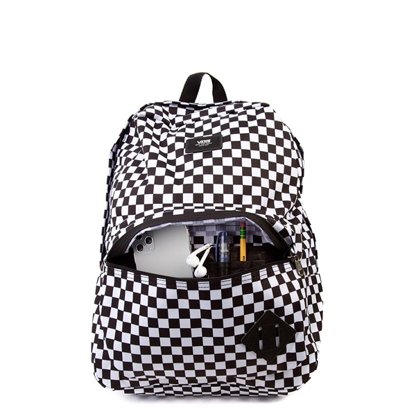 alternate view Vans Old Skool Checkerboard Backpack - Black / WhiteALT3B