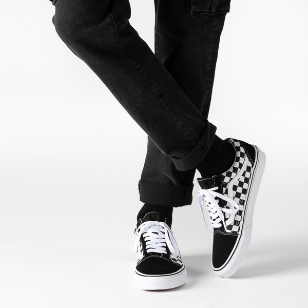 alternate view Vans Old Skool Checkerboard Skate Shoe - Black / WhiteB-LIFESTYLE1