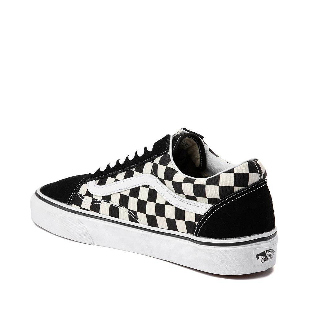 Vans Old Skool Checkerboard Skate Shoe - Black / White
