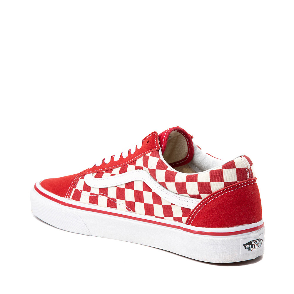 complete range of articles top-rated real hot sales Vans Old Skool Checkerboard Skate Shoe - Red / White