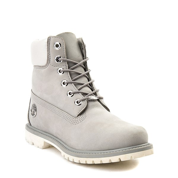 "alternate view Womens Timberland 6"" Metallic Collar Premium Boot - Gray / WhiteALT1"
