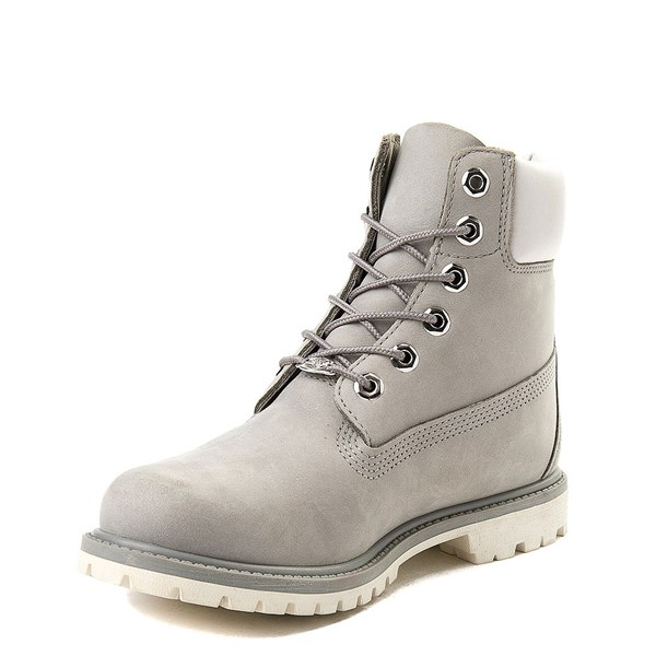 "alternate view Womens Timberland 6"" Metallic Collar Premium Boot - Gray / WhiteALT3"