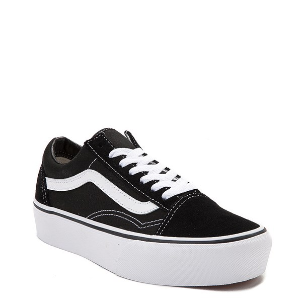 alternate view Vans Old Skool Platform Skate Shoe - Black / WhiteALT1