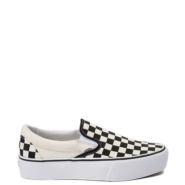 Vans Slip On Checkerboard Platform Skate Shoe - Black