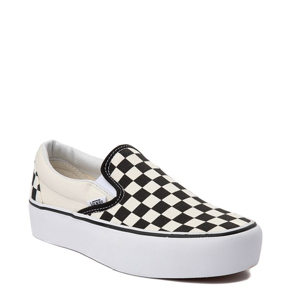 Alternate view of Vans Slip On Checkerboard Platform Skate Shoe - Black