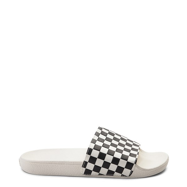 Main view of Womens Vans Slide On Checkerboard Sandal - White / Black