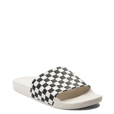 Alternate view of Womens Vans Slide On Checkerboard Sandal - White / Black